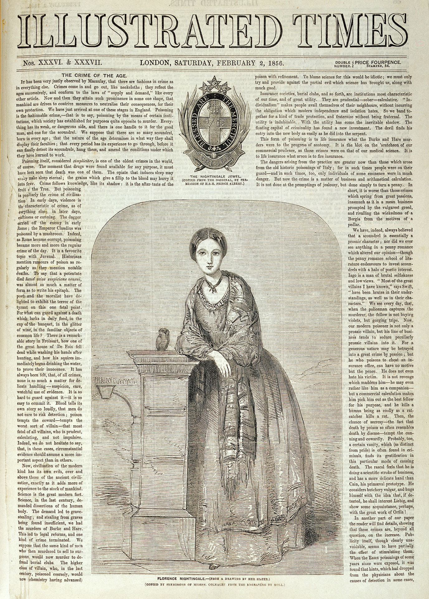 <strong>Figure 3.</strong> <i>Illustrated Times</i> news story featuring Florence Nightingale, Feb. 2, 1856.