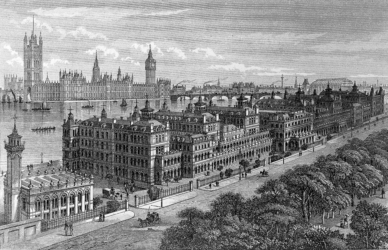 <strong>Figure 4.</strong> St. Thomas's Hospital, London, exterior bird's-eye view from south; anon., after an engraving made for Cassell's Old and New London. Credit: Wellcome Collection. CC BY.