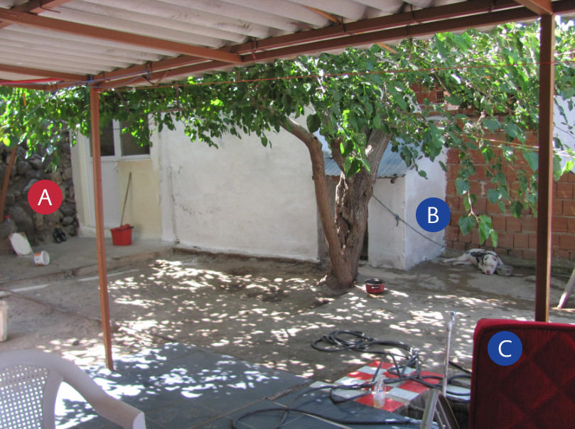 <strong>Figure 1.</strong> The photo of the garden where the infection cycle was enabled. A: The stone wall where the phlebotomus were caught B: The dog's open air residence under the mulberry tree C: The sofa where the host was using to sleep in warm summer nights.
